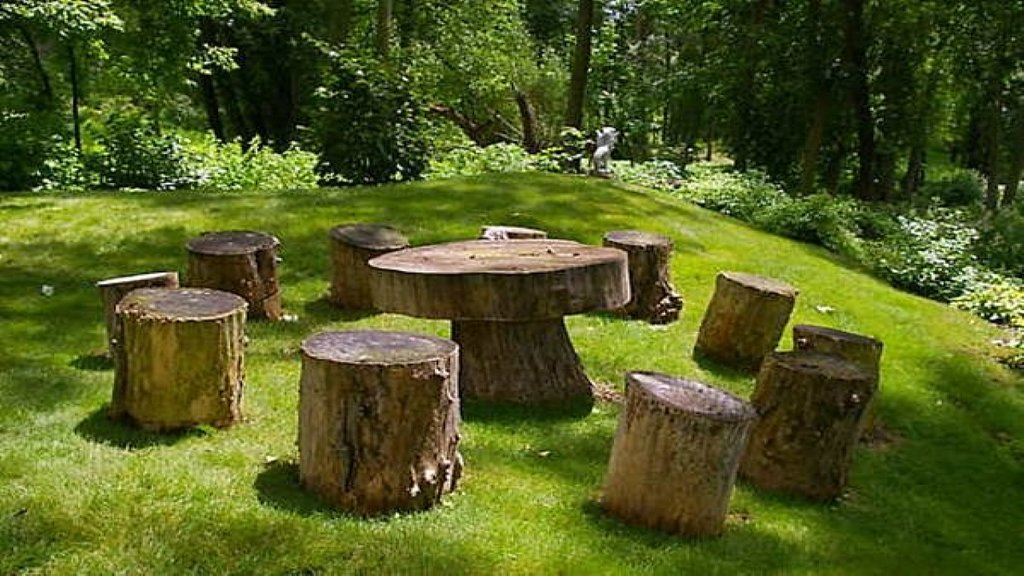 Seating Furniture Tree Stump Garden Idea Make A Tree Trunk Coffee Table
