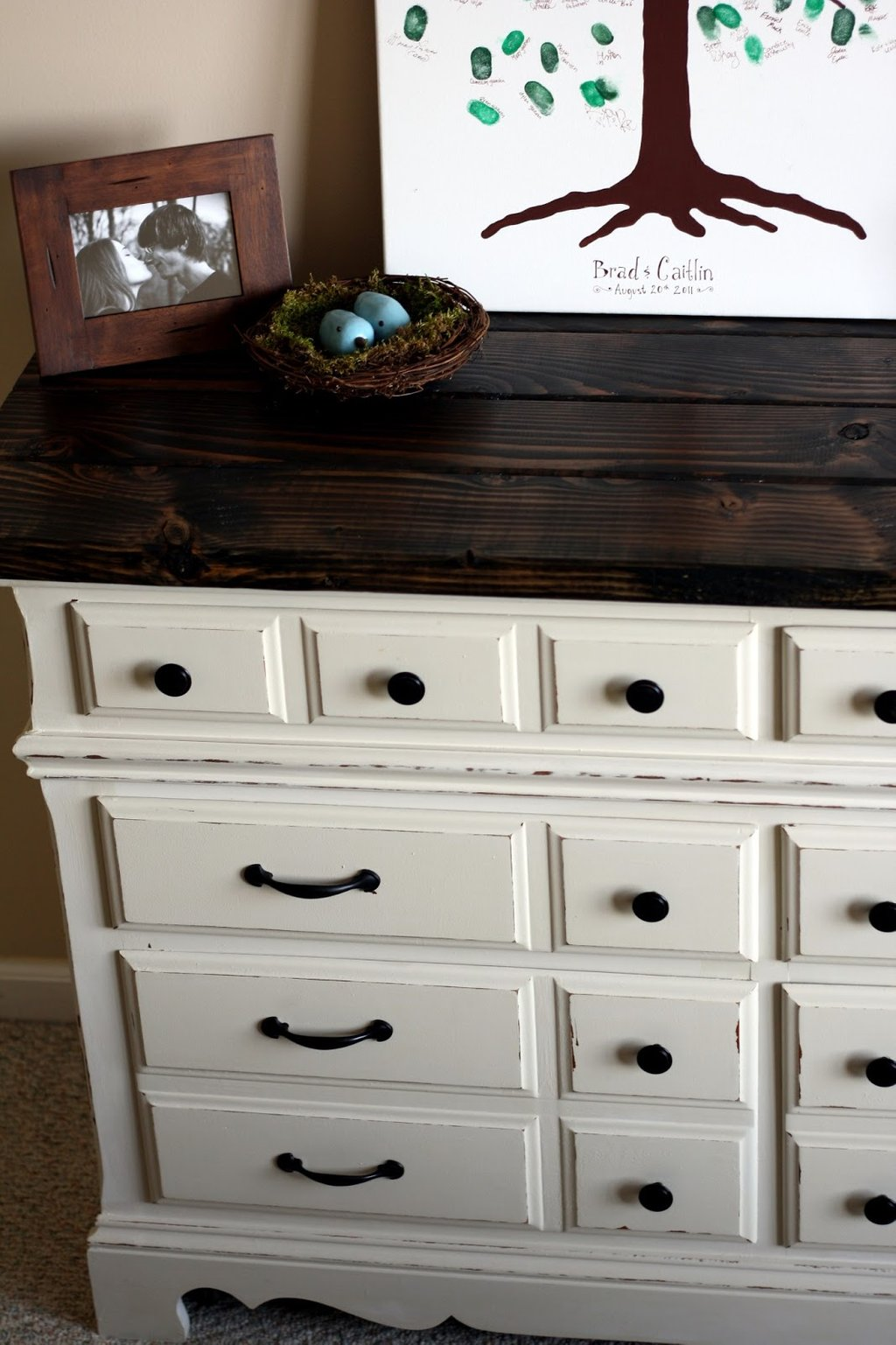 Semi Frugal Life Diy Dresser Rustic Wooden Top Chesterfield Sofa Restoration Hardware