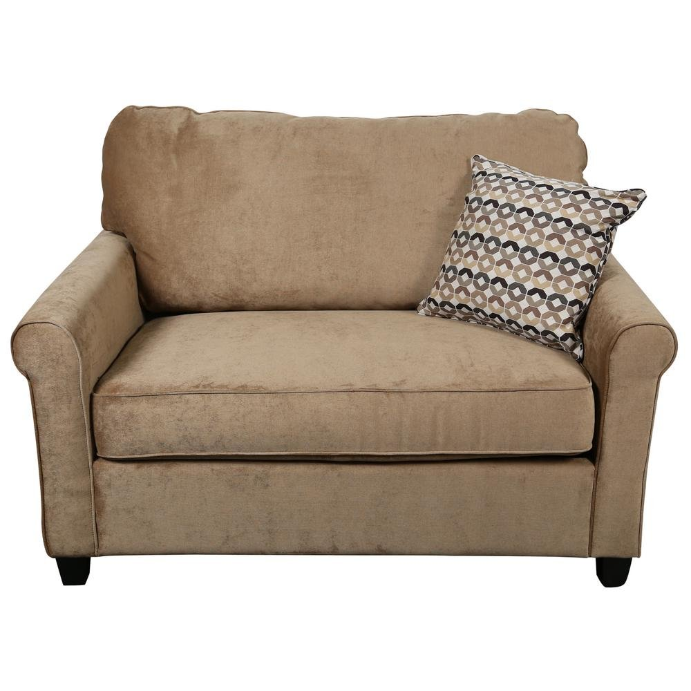Serena Khaki Plush Microfiber Twin Sleeper Sofa 01 33c 07 How To Make Twin Sleeper Sofa