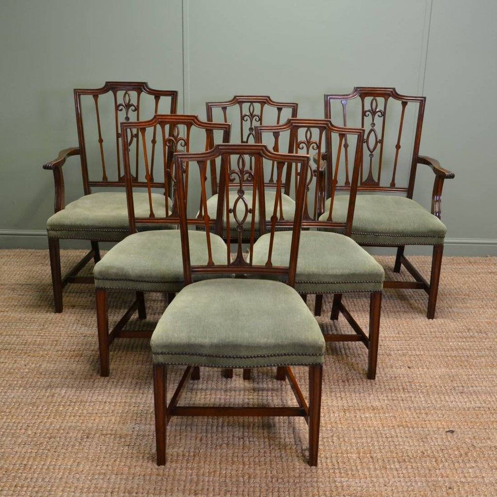 Set Edwardian Mahogany Antique Dining Chair How To Repair Rattan Dining Chairs