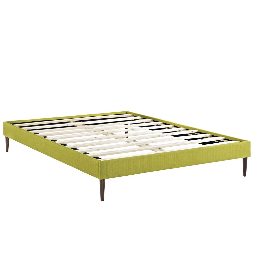 Sherry Upholstered Fabric Full Platform Bed Frame Wheatgrass Platform Bed Frame Queen