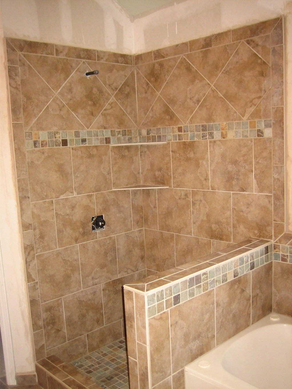 Shower Pony Wall Tub Surround 9 2008 Bathroom Painting Installation Of Pebble Tile