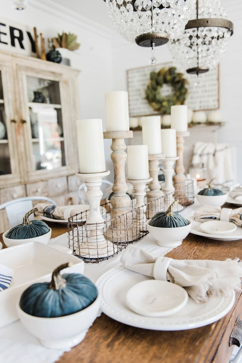 Simple Neutral Fall Farmhouse Dining Room Diy Craft Making Dining Room Table Centerpieces