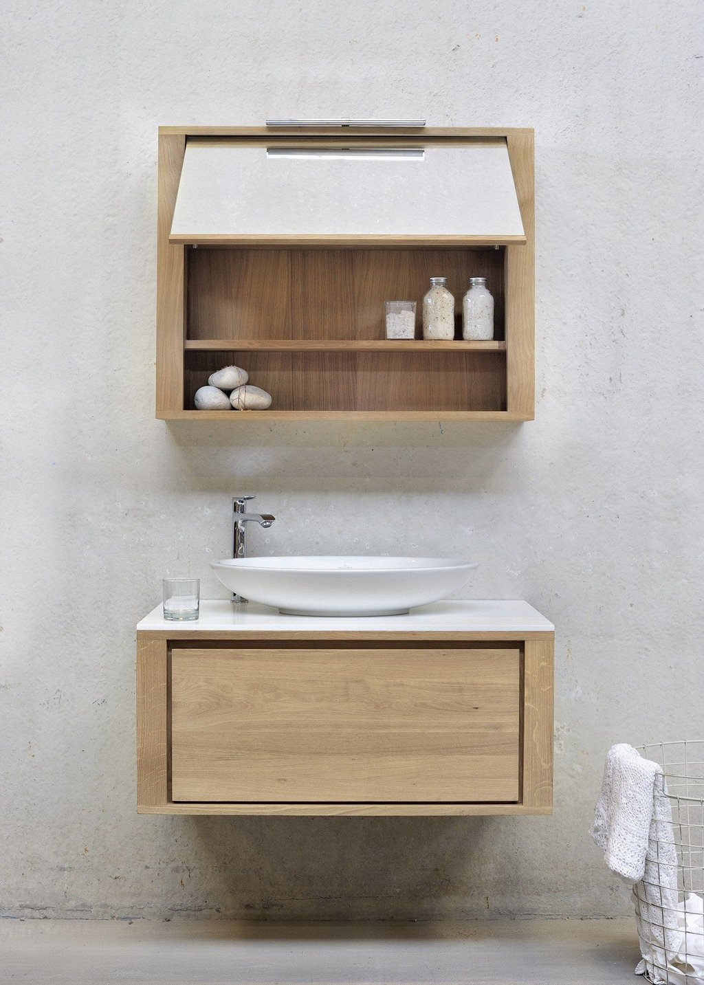 Single Wall Mounted Solid Wood Vanity Unit Oak Shadow Solid Wood Vanity Units For Bathrooms