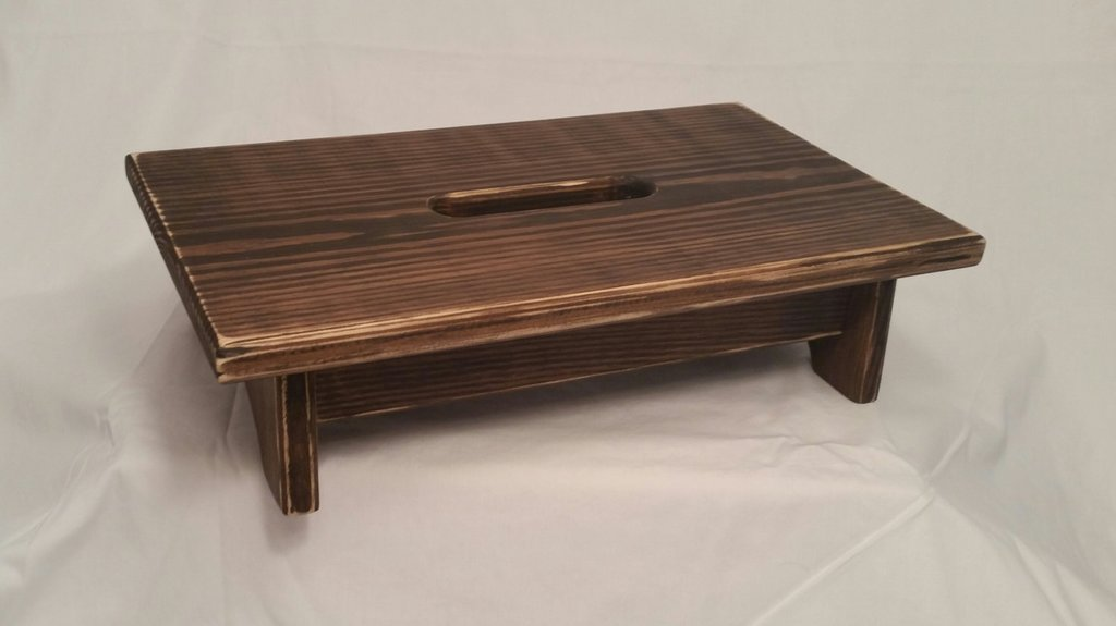 Small Pine Wood Step Stool Handle Hole How To Build A Kitchen Step Stool