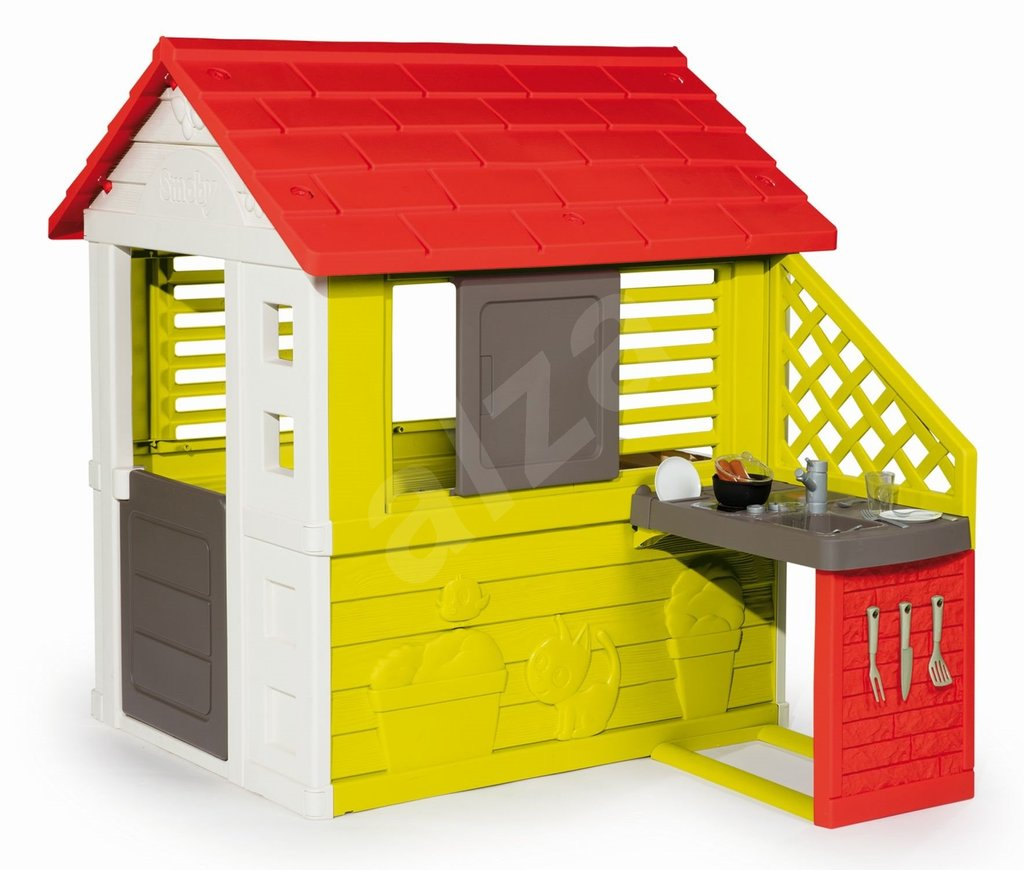 Smoby Nature Playhouse Kitchen Kids 39 Playhouse Outdoor Wooden Playhouse With Slide