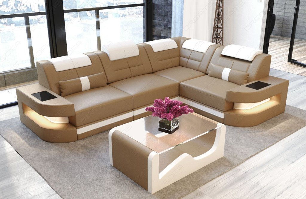 Sofa Couch Luxury Denver Shape Led Sandbeige White Square Leather Ottoman Coffee Table