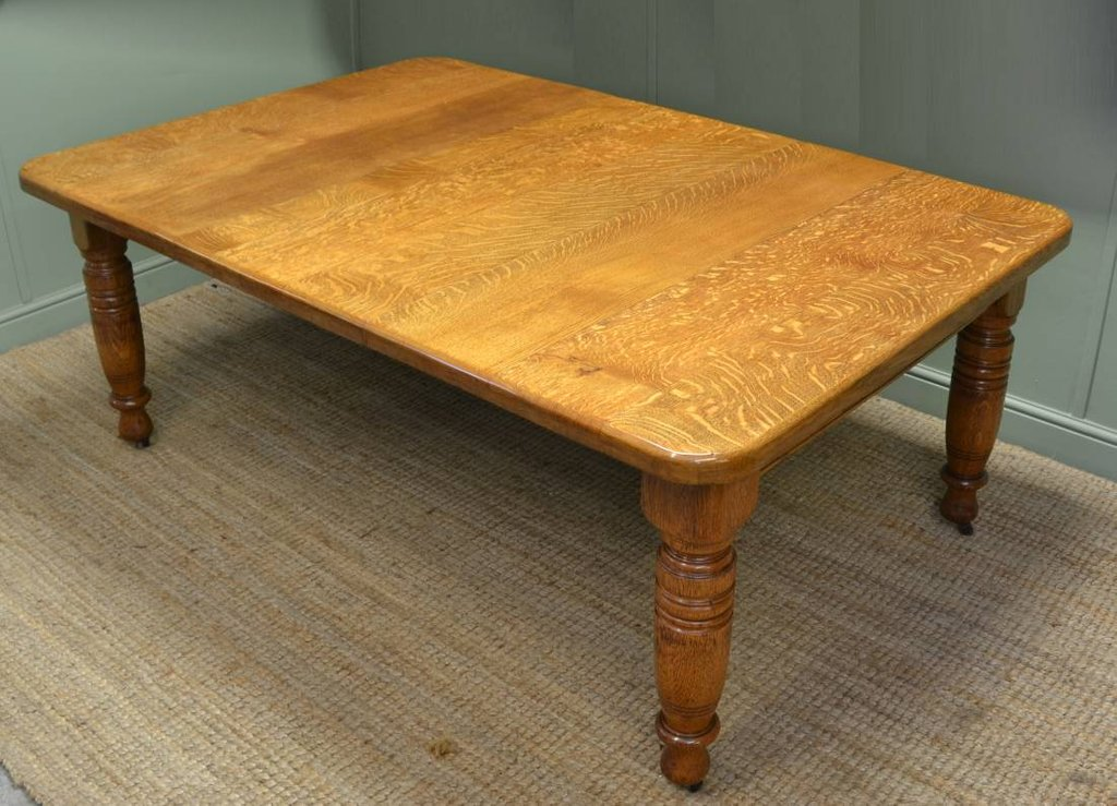 Solid Golden Oak Victorian Antique Extending Dining Double Pedestal Dining Table Antique
