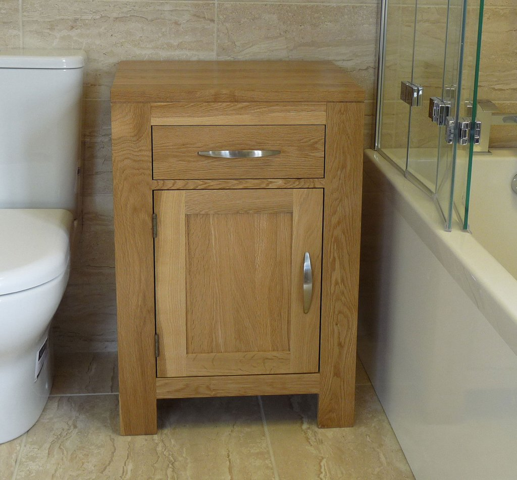 Solid Oak Bathroom Furniture Basin Cabinet 60cm Wide Solid Wood Vanity Units For Bathrooms