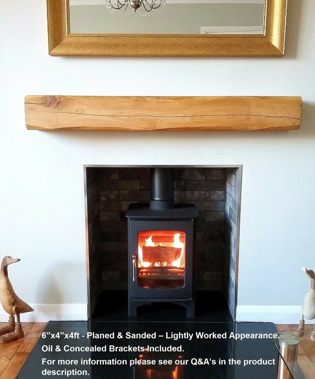 Solid Oak Beam Floating Wood Mantel Characterful Fireplace Mounting Floating Wood Floors
