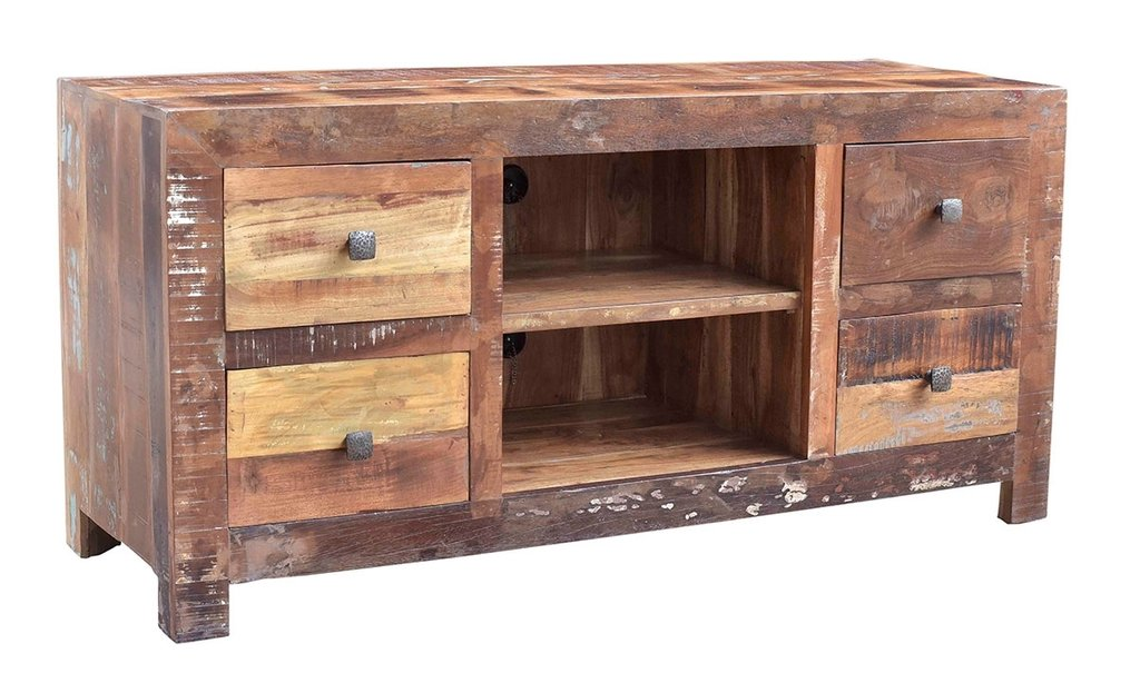 Solid Wood Medium Console Gange 60 Handcrafted Solid Reclaimed Wood Media Console Table
