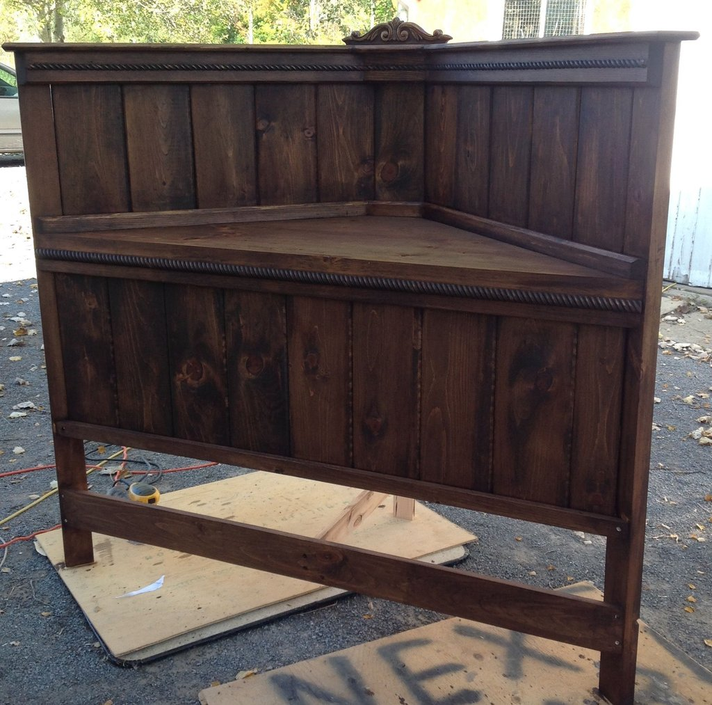 Stained Walnut Painted Soft White Distressed Making Wooden Queen Bed Frame