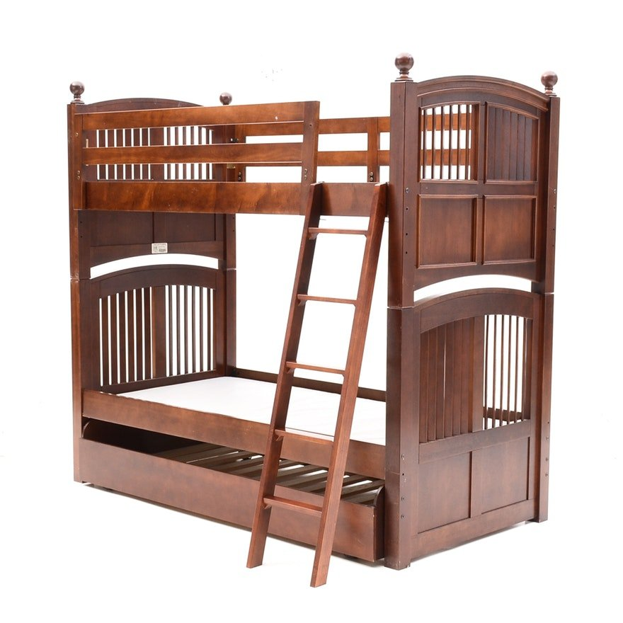 Stanley Twin Bunk Bed Trundle Bed Ebth Wicker Headboard Is Durable Furniture