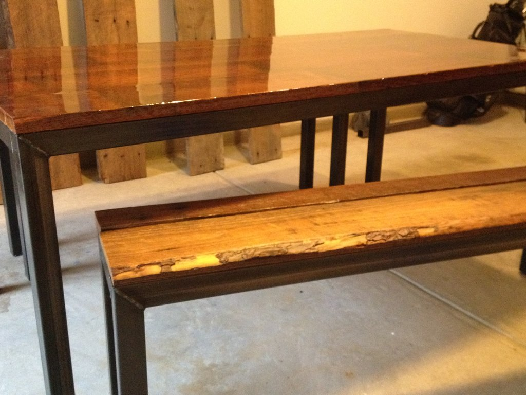 Steel Framed Kitchen Table Bench Reclaimed Repainting Butcher Block Kitchen Table
