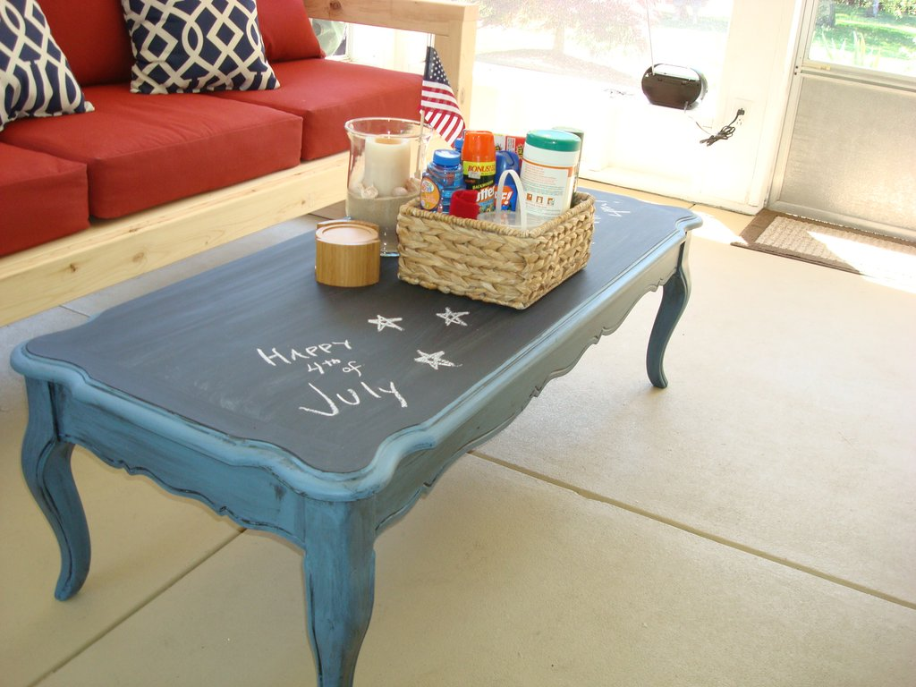 Stolen Idea Chalkboard Top Coffee Table Kyle Painted The Wicker End Tables