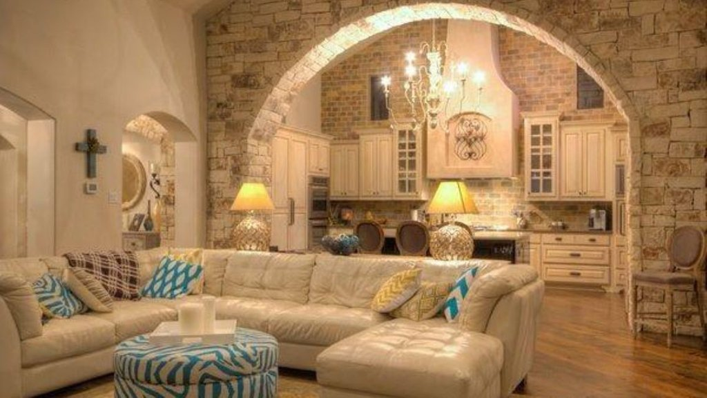 Stone Arch Living Room Kitchen Divider Blue Chevron Pop Faux Brick Flooring Finish
