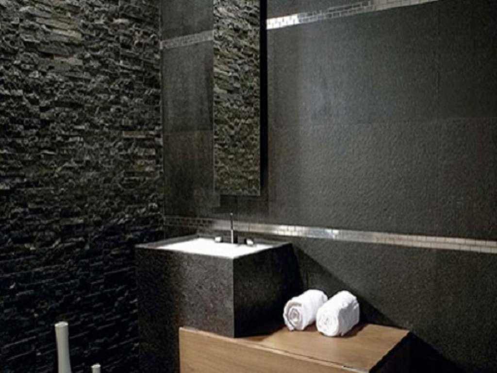 Stone Bathroom Ideas Black Natural Stone Bathroom Slate Installation Of Pebble Tile