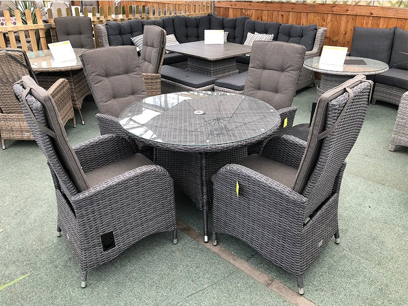 Stone Grey Rattan Dining Set Reclining Chair How To Repair Rattan Dining Chairs