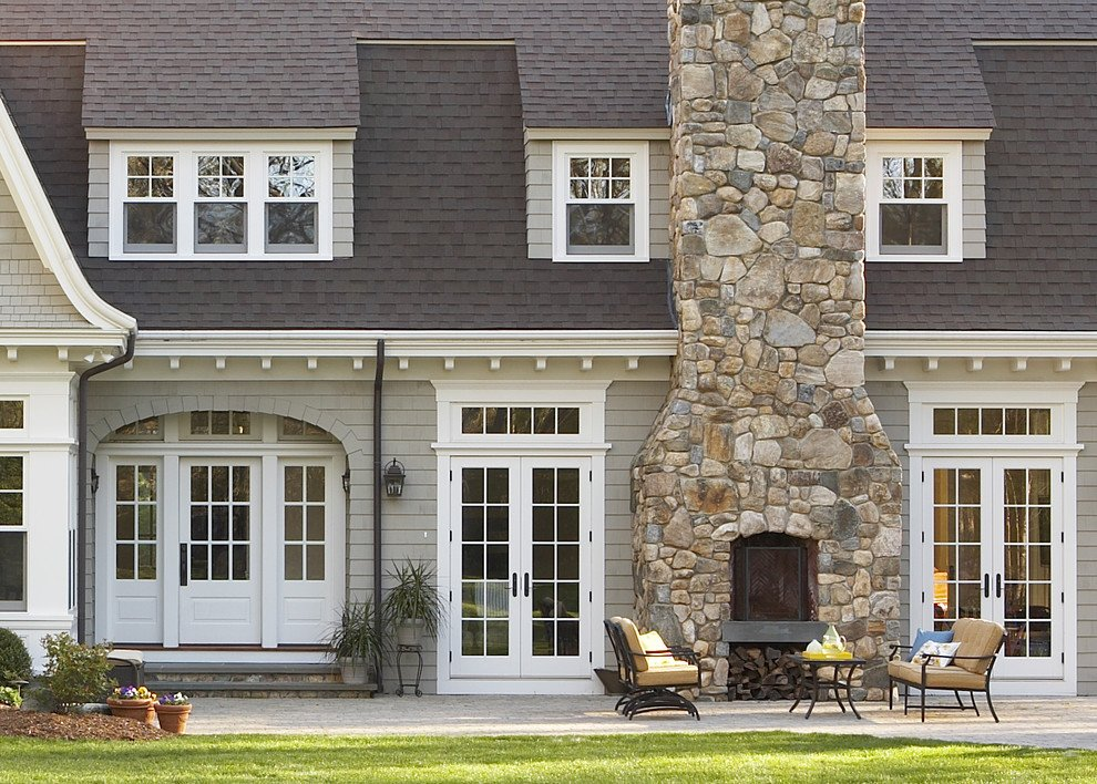 Stone Outdoor Fireplace Exterior Traditional Airy Popular Paint Of Wood Siding Types