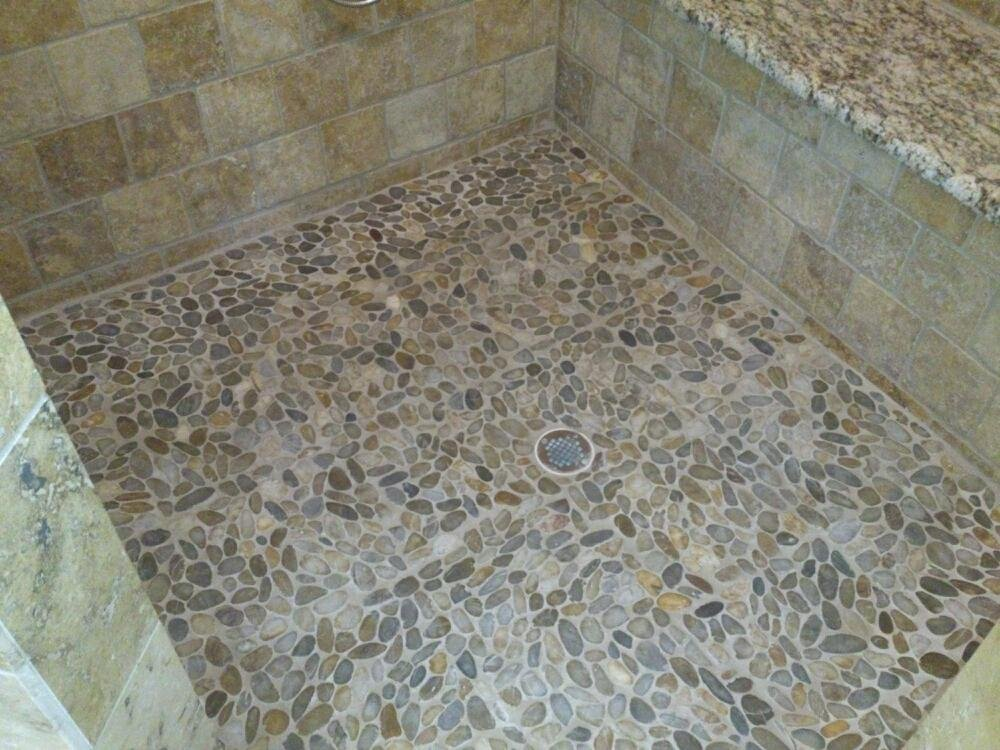 Stone Shower Floor Pebble Tile Bathroom Cleaning Installation Of Pebble Tile