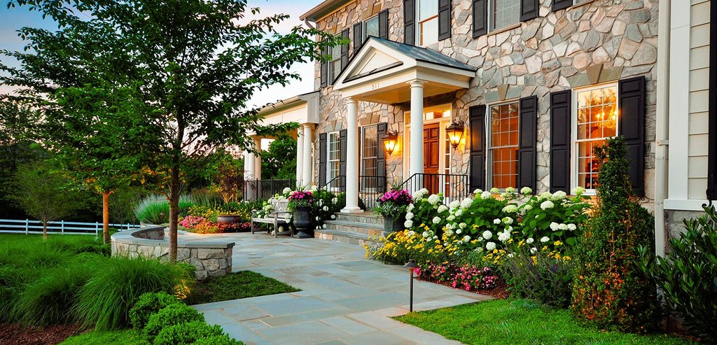 Stone Walkway Rustic Modern House Design Exposed Lateral File Cabinet Home Ideas