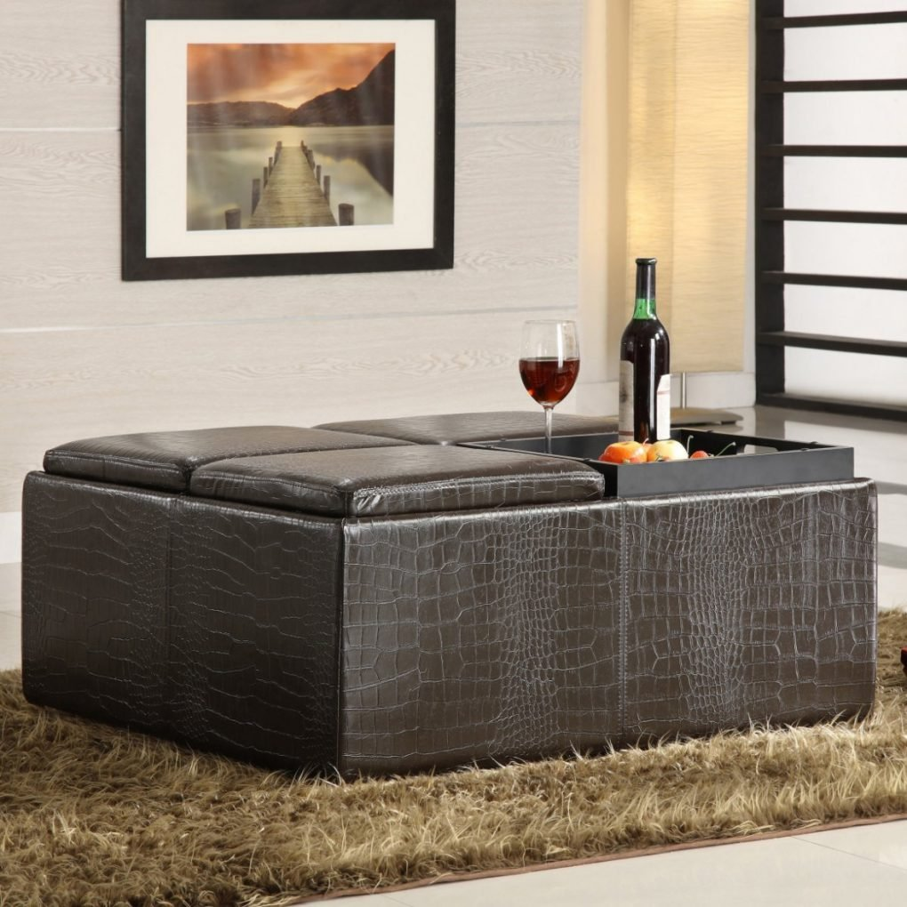Storage Sensational Large Storage Ottoman Applied Square Leather Ottoman Coffee Table