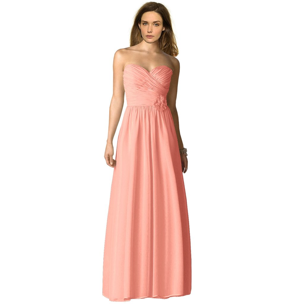 Strapless Full Length Chiffon Bridesmaid Dress Formal With Full Length Wall Mirror Storage