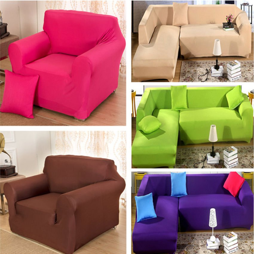 Stretch Elastic Solid Color Sofa Cover Sectional Corner Sofa Protector Home Ideas