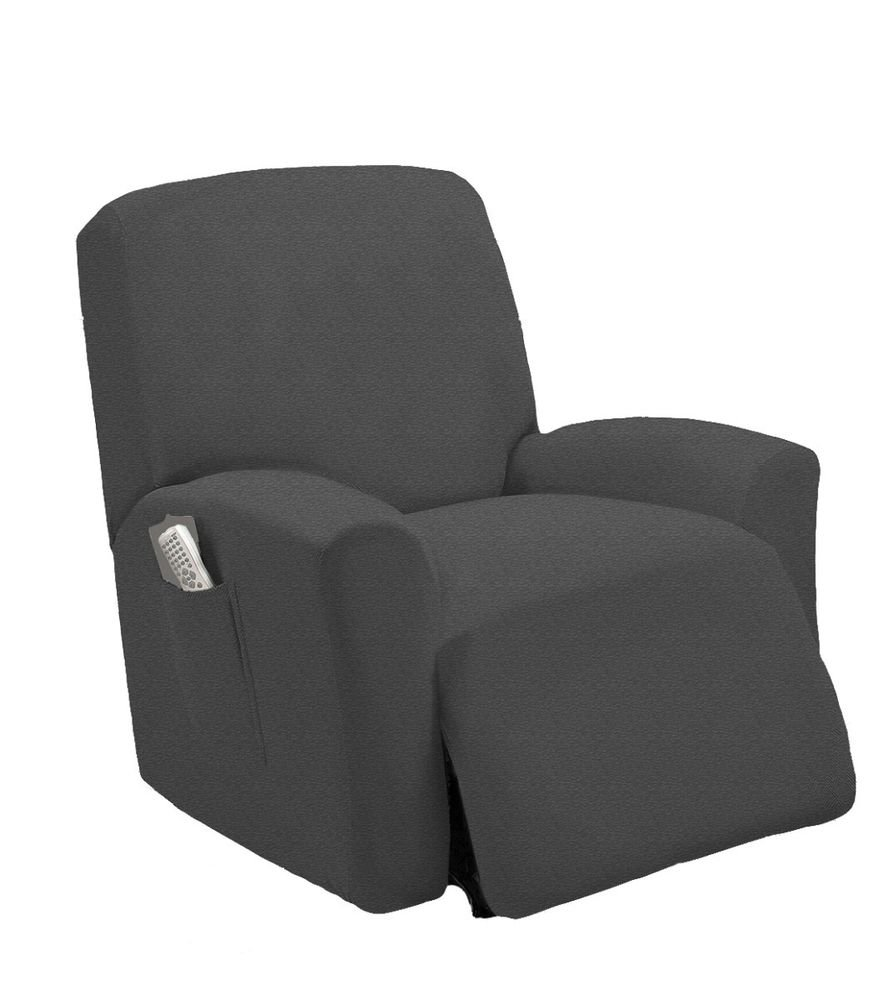 Stretch Fit Gray Recliner Slipcover Chair Slip Cover Couch How A Reclining Sofa To Function Properly