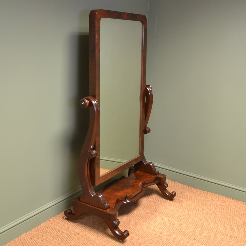 Stunning Victorian Full Length Mahogany Antique Cheval With Full Length Wall Mirror Storage