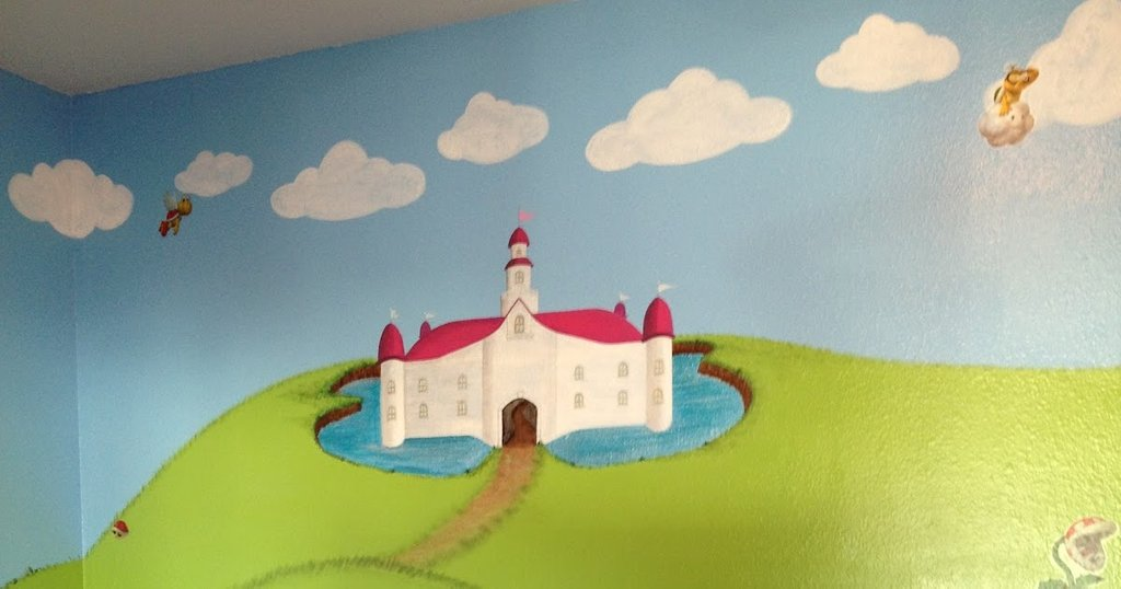 Super Mario Princess Peach Nursery Bedroom Wall How To Make Baby Changing Table Dresser