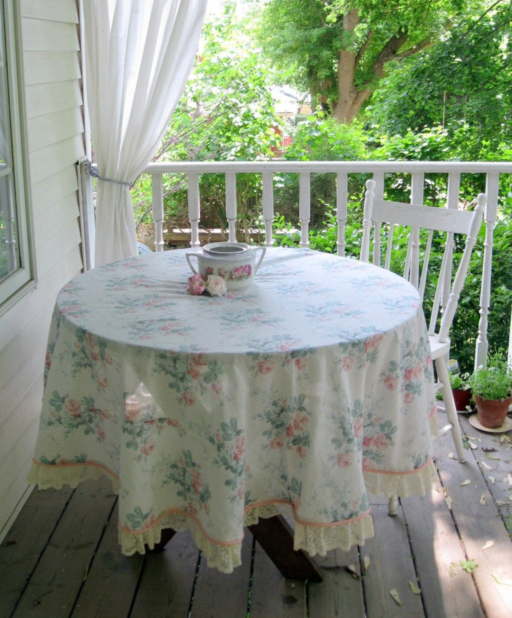 Tablecloth Rose Large Frilled Shabby Chic Cottage Tablecloths For 72 Inch Round Dining Table