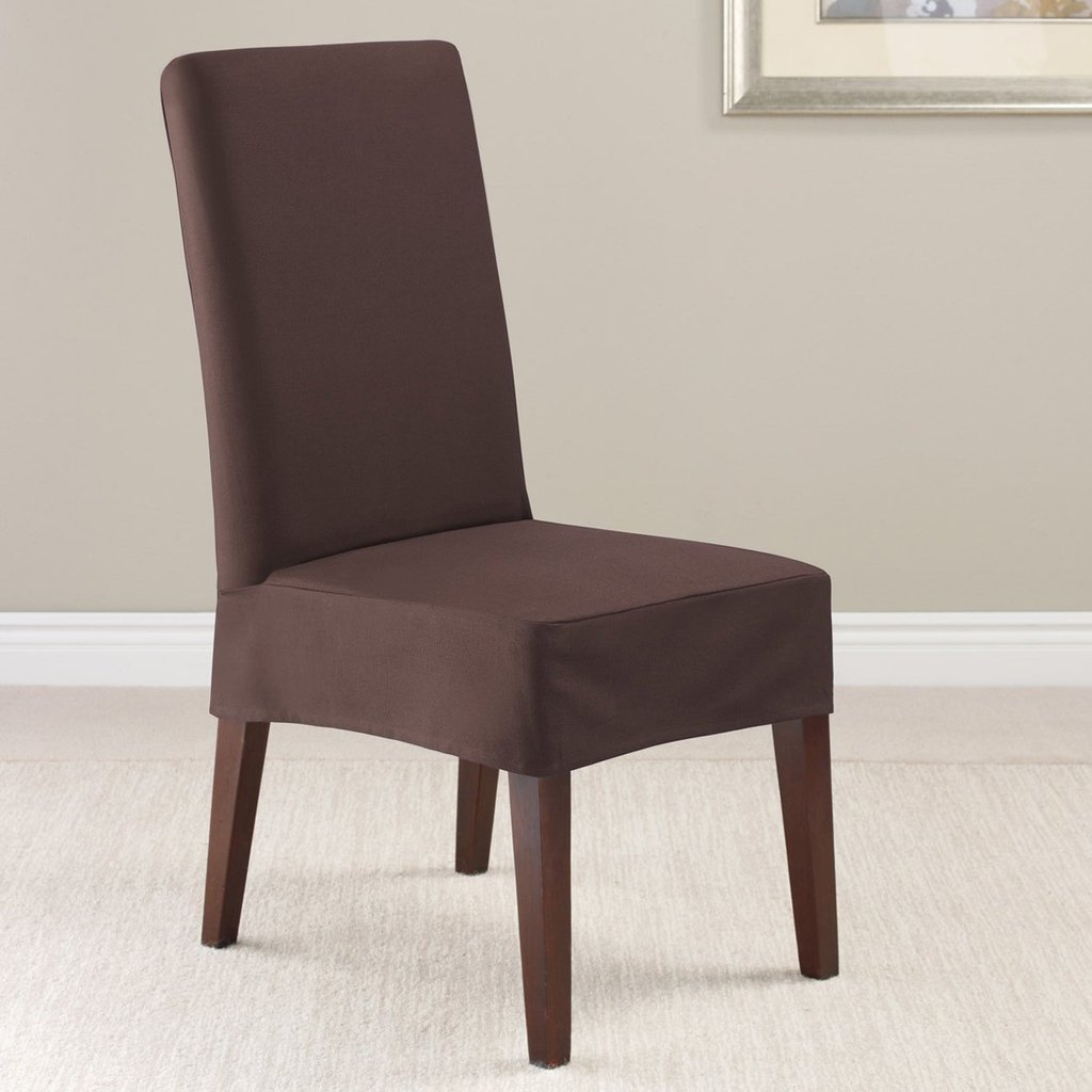 Tag Minimalist Dining Chair Brown Fabric Fit Making Dining Room Chair Slipcovers