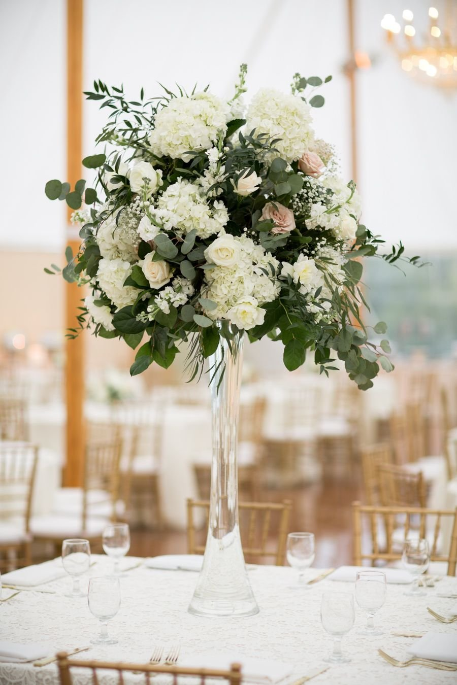 Tall Eucalyptus Rose Hydrangea Centerpiece Dining Room Table Centerpieces Ideas