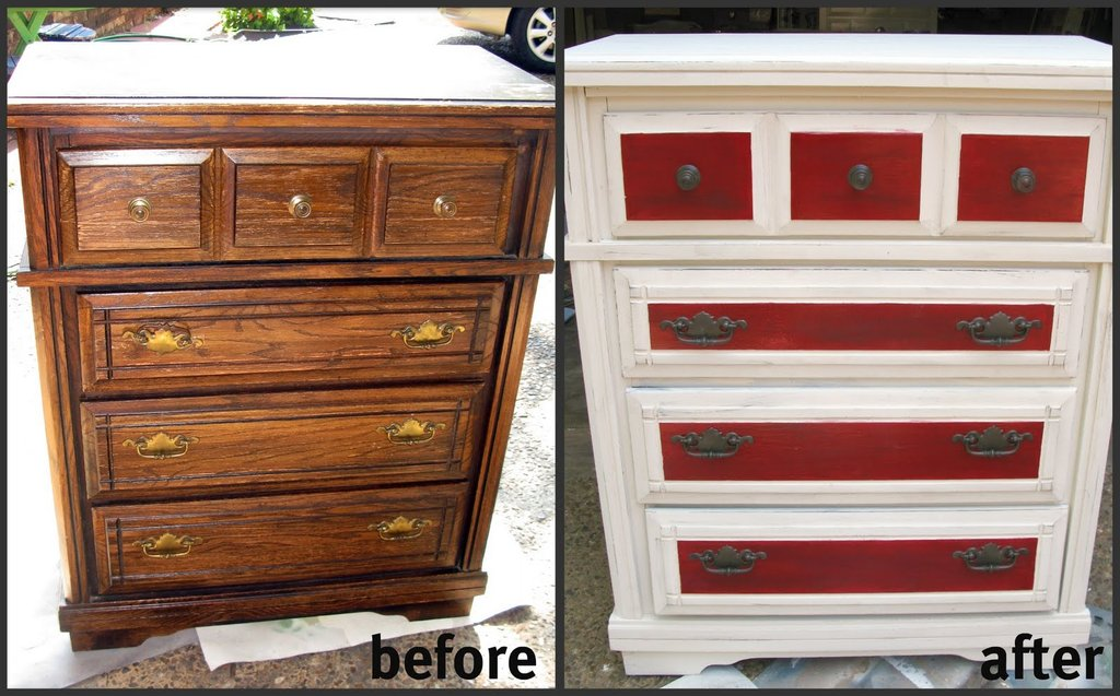 Tattered Inked Red White Distressed Dresser Makeover Make A Dresser Look Distressed Dresser