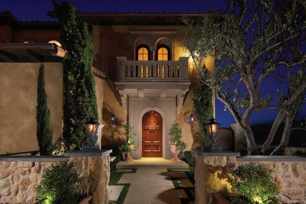 Taupe Stucco Exterior Mediterranean Tile Roof Chesterfield Sofa Restoration Hardware