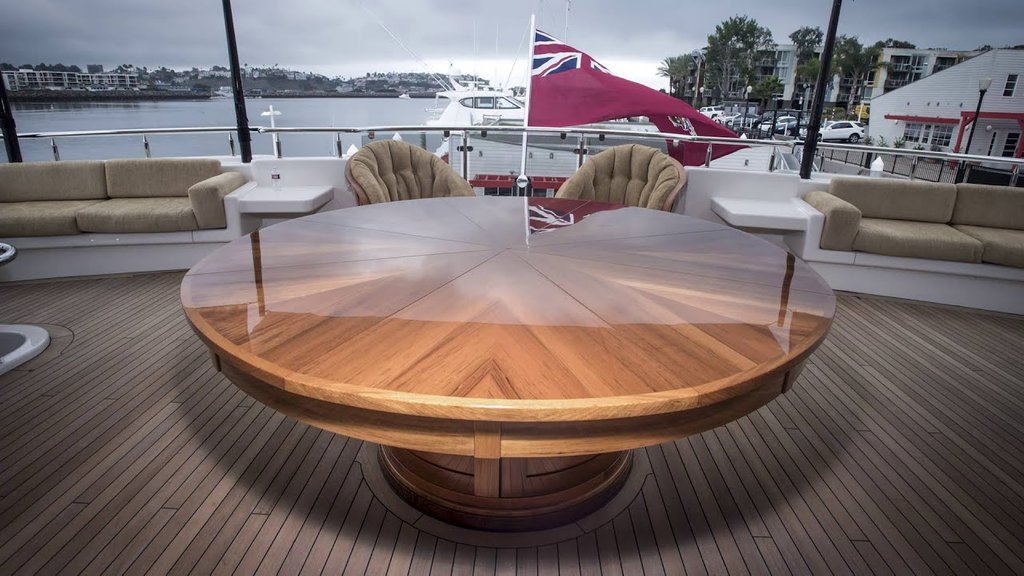 Teak Expanding Table Yacht Doovi How To Build Round Wood Table Tops