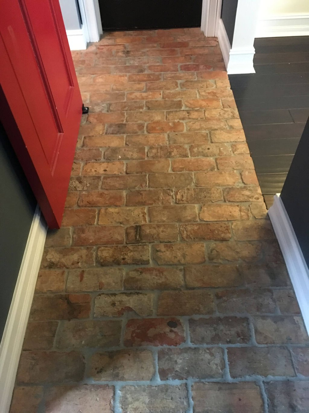 Thin Brick Floor Tile Tile Design Idea Faux Brick Flooring Finish