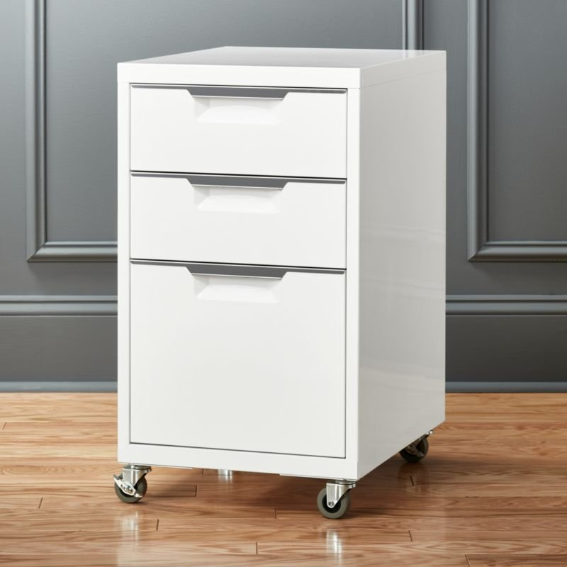 Tp 3 Drawer White File Cabinet Review Cb2 How Make Rolling File Cabinet