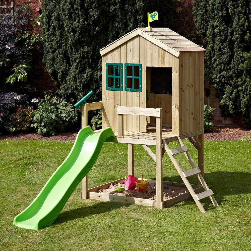 Tp Toy Children 39 Forest Cottage Playhouse Slide Outdoor Wooden Playhouse With Slide