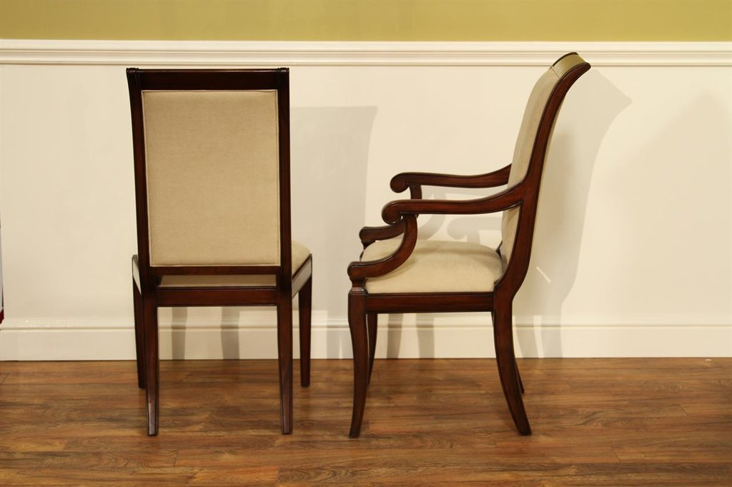 Transitional Upholstered Mahogany Dining Room Chair Dining Room Chairs With Arms
