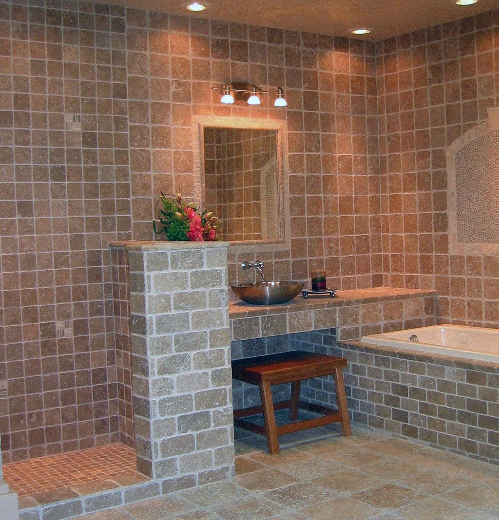 Travertine Tile Bathroom Display Brick Installation Of Pebble Tile