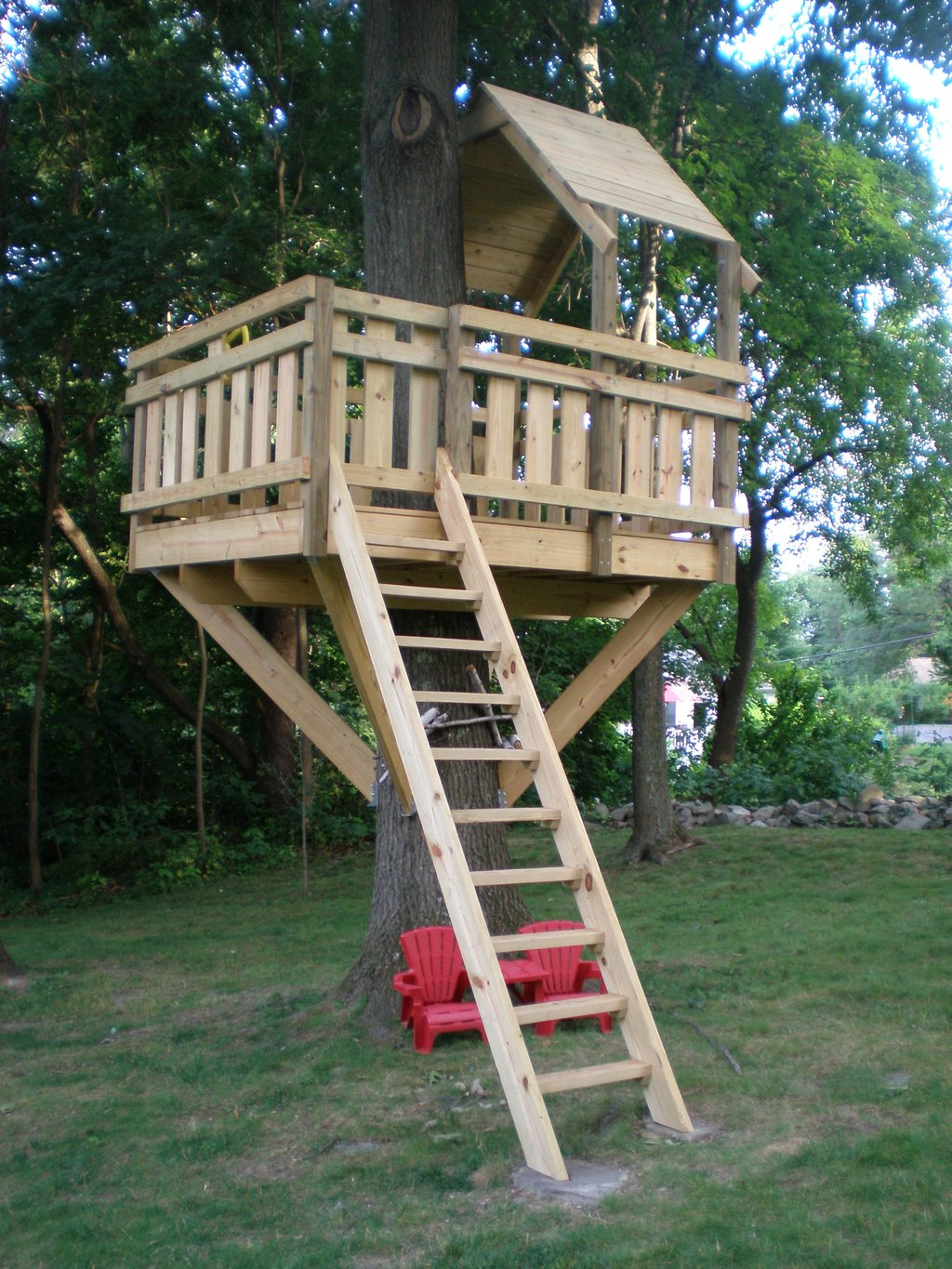 Tree Fort Ladder Gate Roof Finale Village Custom Durability Of Kids Wooden Playhouse