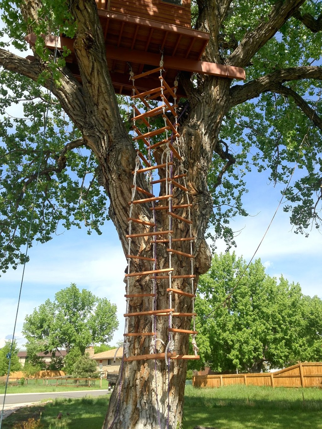 Treehouser Part 16 Hanging Treehouse Rope Ladder Outdoor Wooden Spiral Staircase