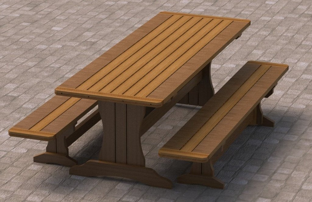 Trestle Style Picnic Table Bench Woodworking Plan Decorating Square Picnic Table