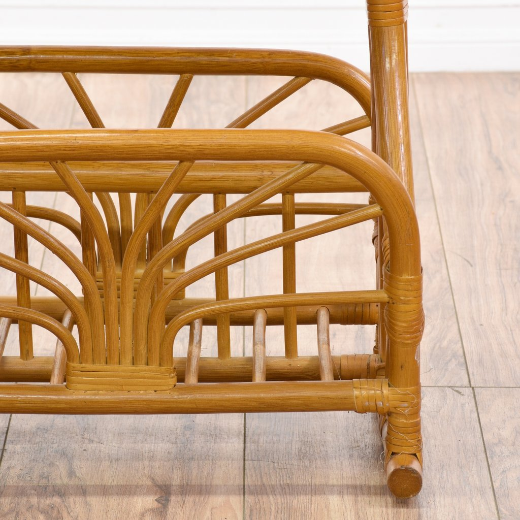 Tropical Rattan Magazine Rack Side Table Loveseat Painted The Wicker End Tables