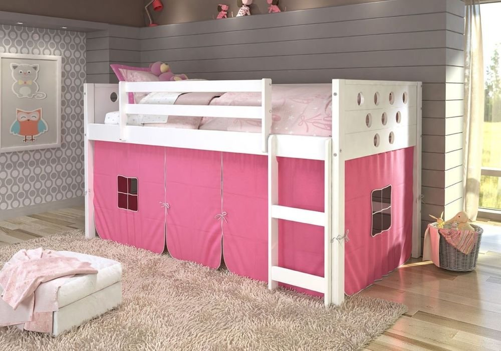 Twin Circle Loft Bunk Bed Girl Tent Making Wooden Queen Bed Frame