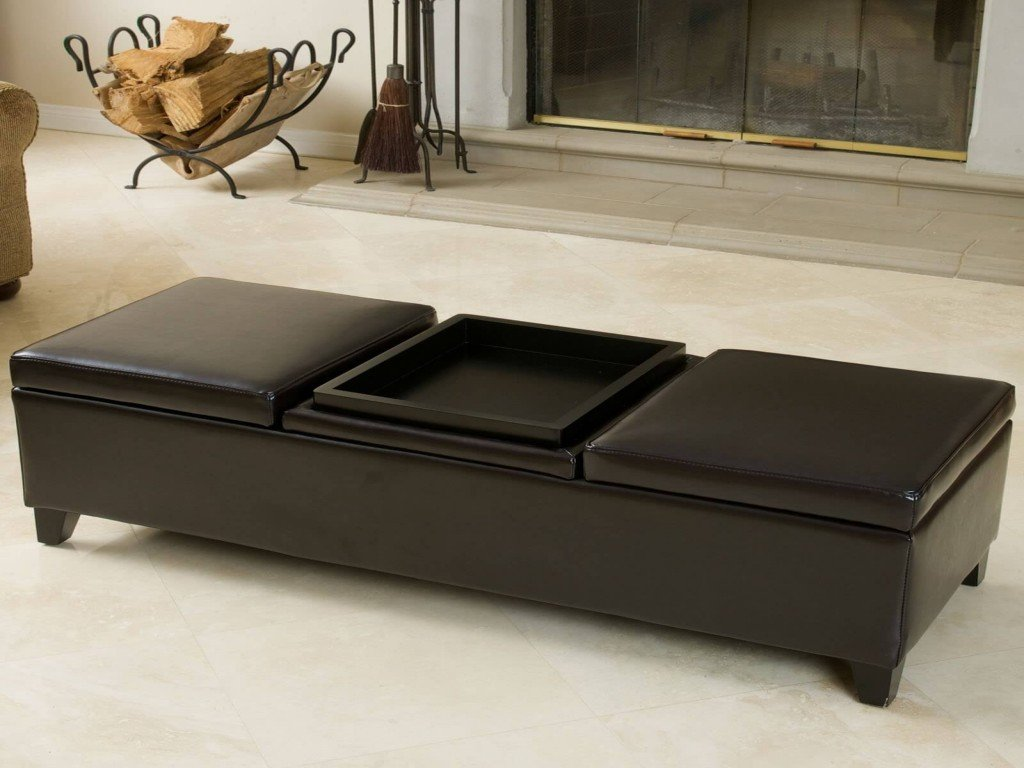 Unique Coffee Storage Table Brown Leather Cocktail Square Leather Ottoman Coffee Table