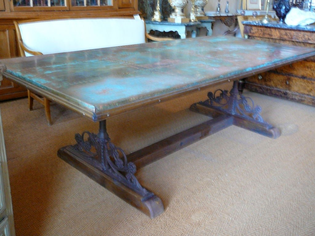 Unusual Copper Iron Wood Dining Table 1stdib Double Pedestal Dining Table Antique