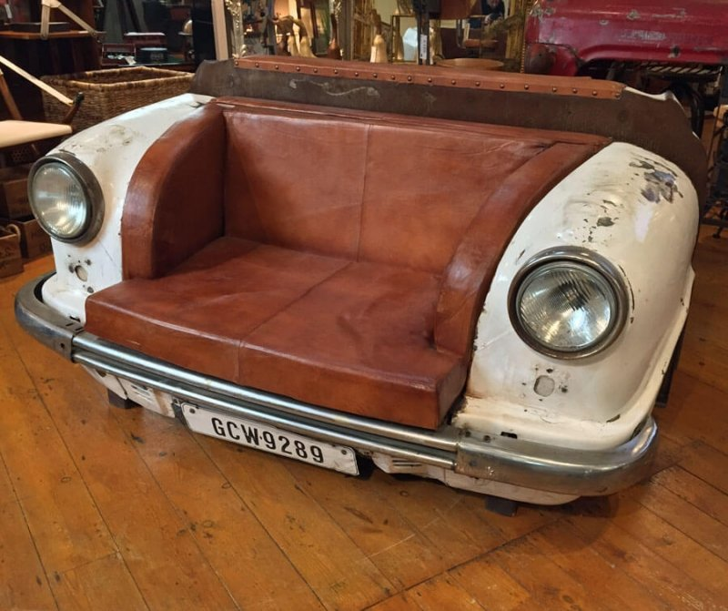 Upcycled Classic Car Leather Sofa Upcycled Front Mirrored End Table Ideas Decor
